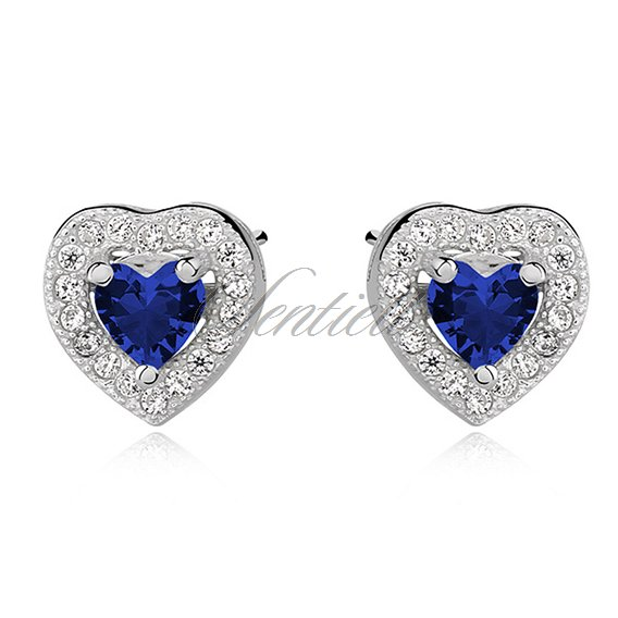 Silver (925) Earrings sapphire colored zirconia - hearts