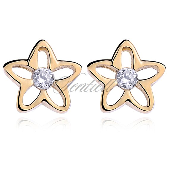 Silver (925) Earrings zirconia flowers gold plated