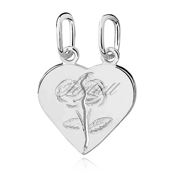 Silver (925) Pendant heart with roses for couples