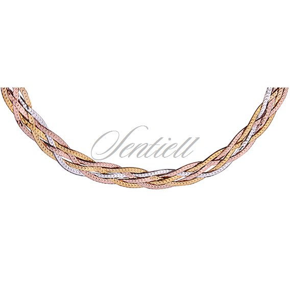 Silver (925) braided plait chain necklace - gold & rose gold