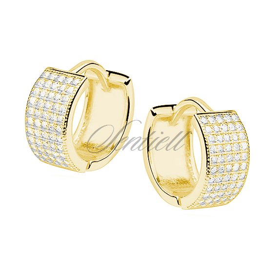 Silver (925) earrings hoop with five rows of zirconia, gold-plated