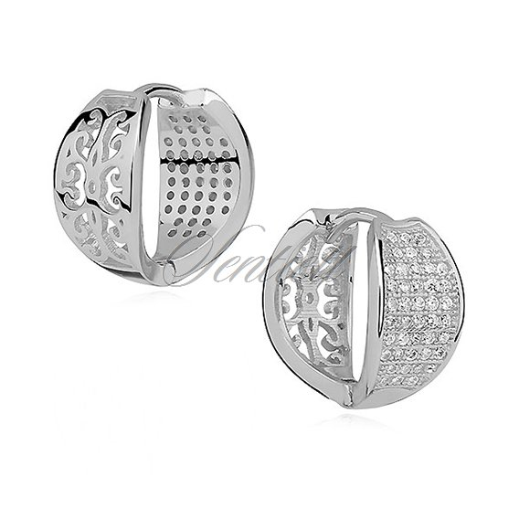Silver (925) earrings hoop with zirconia, open-work back