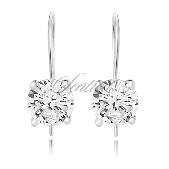 Silver (925) earrings round white zirconia diameter 5mm
