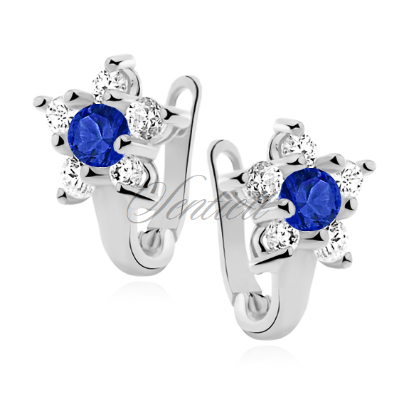 Silver (925) earrings white and blue zirconia flower