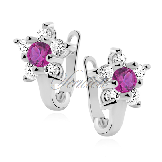 Silver (925) earrings white and deep pink zirconia flower