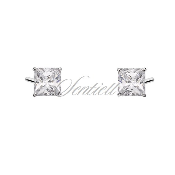 Silver (925) earrings white zirconia 4 x 4mm square