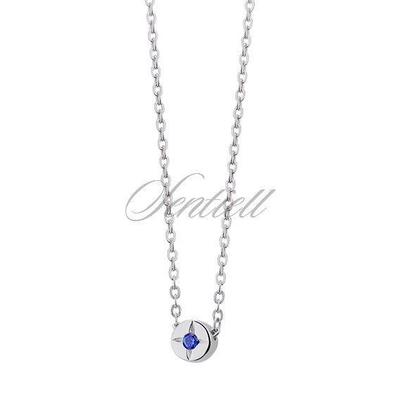 Silver (925) necklace with round blue zirconia pendant