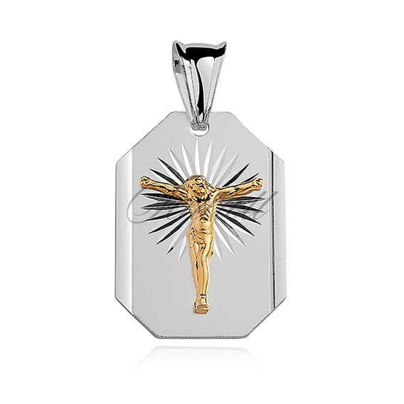 Silver (925) pendant Jesus on cross gold-plated