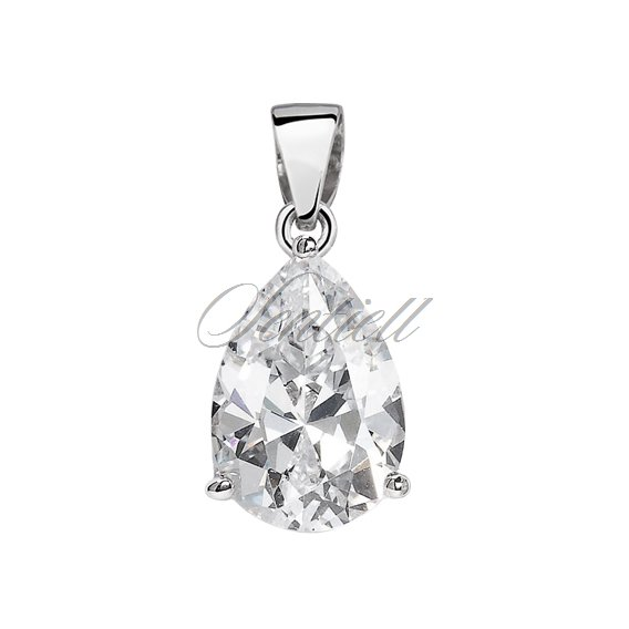 Silver (925) pendant tear-shaped white zirconia - 10 x 12mm