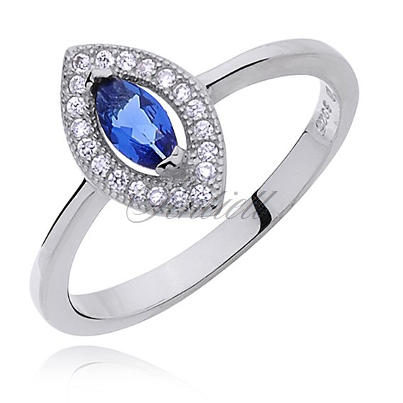 Silver (925) ring with blue & white zirconia