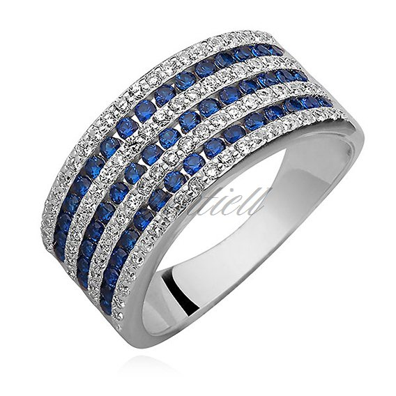 Silver (925) ring with white and sapphire zirconia
