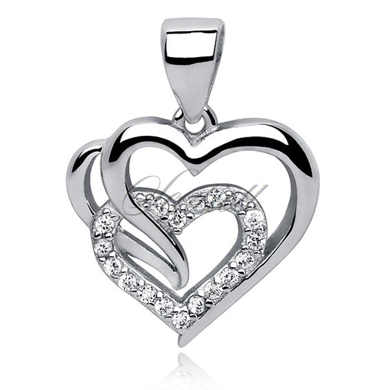 Silver (925) triple heart pendant with white zirconia