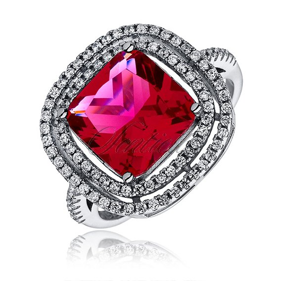 Silver fashionable (925) ring with ruby zirconia