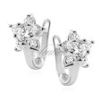 Silver (925) earrings white zirconia flower