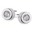Silver (925) round earrings white zirconia